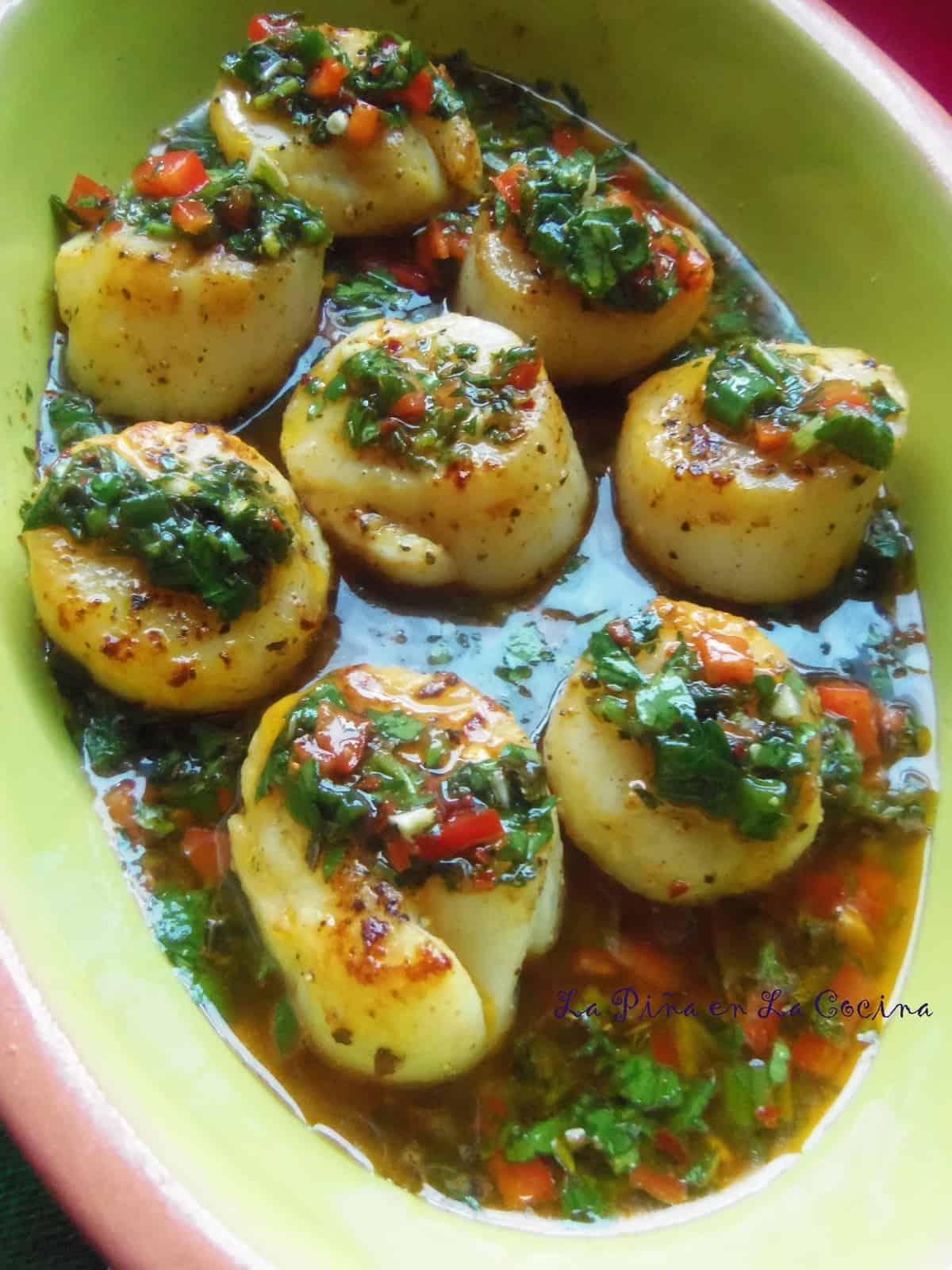 Seared Scallops in a Chimichurri Style Sauce