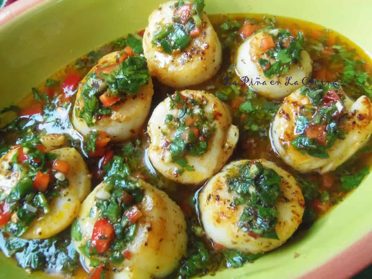 The scallops were delicious in the chimichurri sauce!