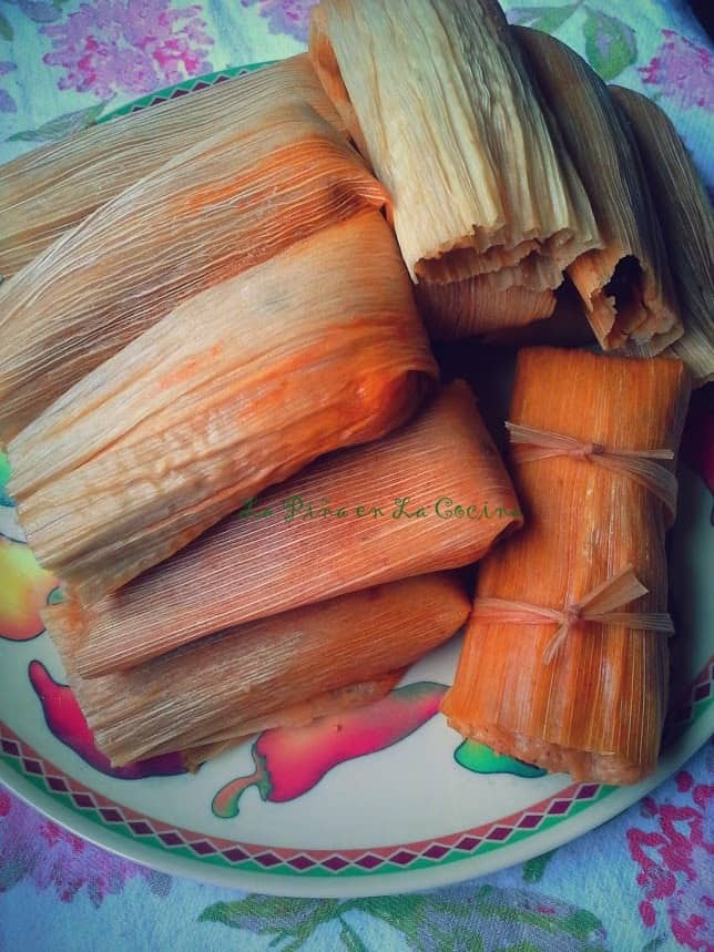 Two cups of pork filling with about 2 full cups of prepared masa for tamales yields about 14 tamales.