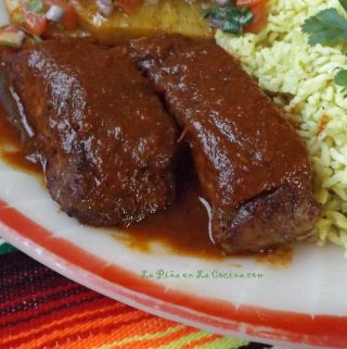 Costillas de Puerco en Chile Colorado (Chile Ancho Braised Pork Ribs)