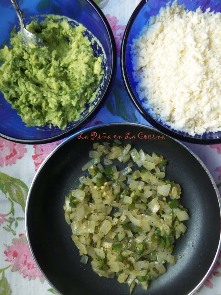 Instead of raw onions ans serranos, I like to saute them a bit before adding them to the guacamole. I read this variation in my cookbook Nuevo Tex Mex that I purchased a few years back. I really love this variation. No strong onion flavors.