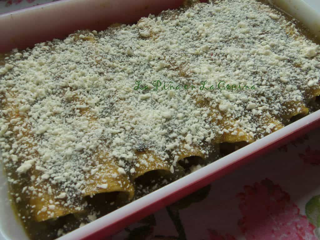 In our family, many times we would just warm the enchiladas with only sauce and add crumbled mexican cheese before serving.