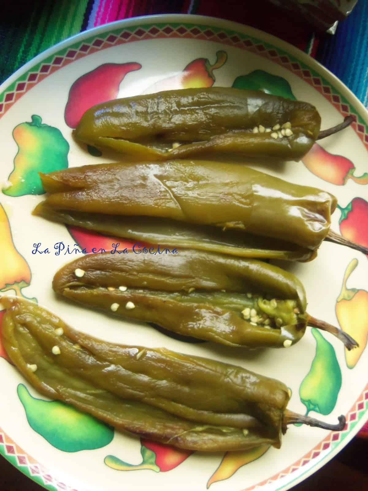 Roasted and peeled green chiles, know as Anaheim, New Mexico, Hatch Peppers or Chile Chilacas