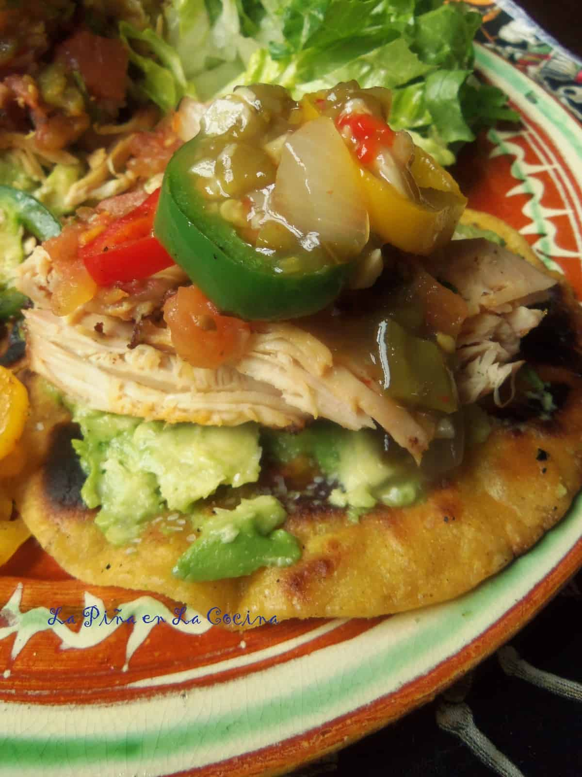 Smoky Chicken Tostadas with Smoked Pico de Gallo, Grilled Chile Pepper Sauce and Sauteed Peppers