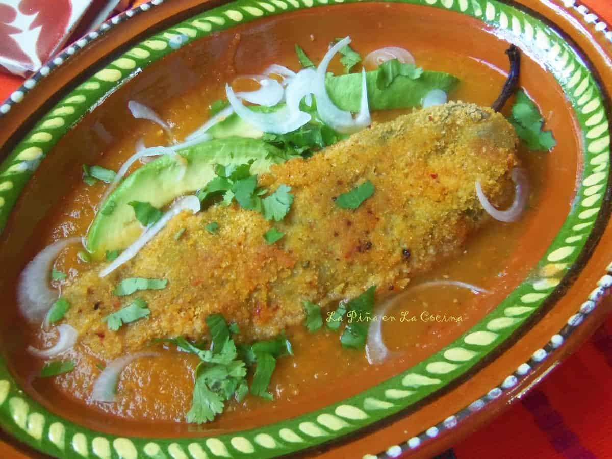 Smoky Bacon Cheddar Relleno in a Fresh Tomato Salsa.