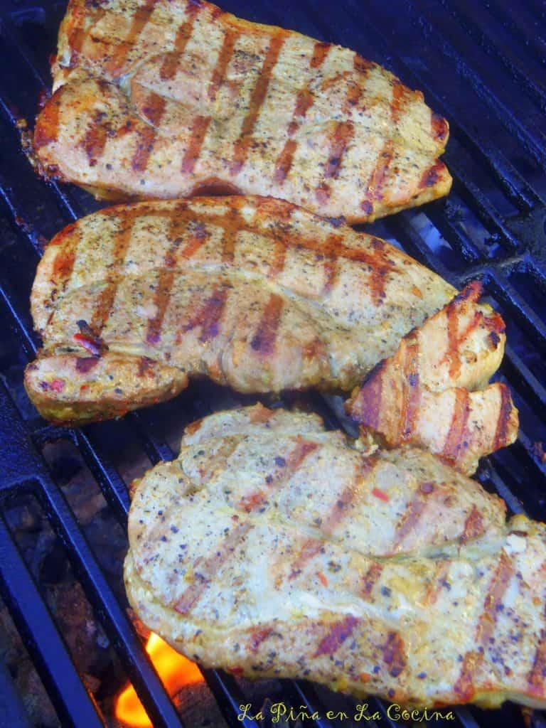 Garlic Mojo Marinated Grilled Pork Steaks