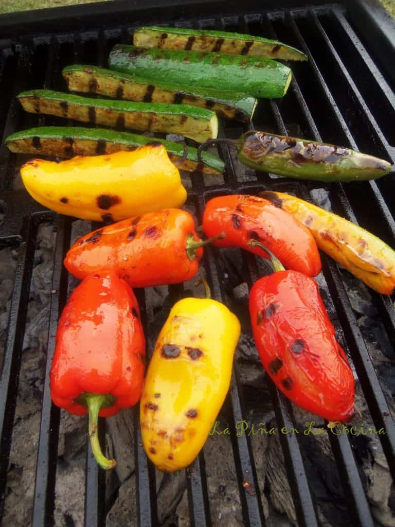 Grilled Sweet Peppers and Zucchini