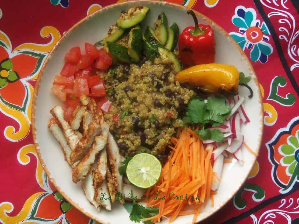 Fresh Mex~ Grilled Chicken and Black Beans Quinoa Bowls