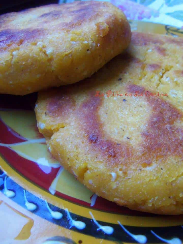The finish on the exterior of the Arepas with vary depending on what cooking surface you use. The above Arepas were cooked in a cast iron skillet and the ther prepared ones were cooked in a nonstick pan.