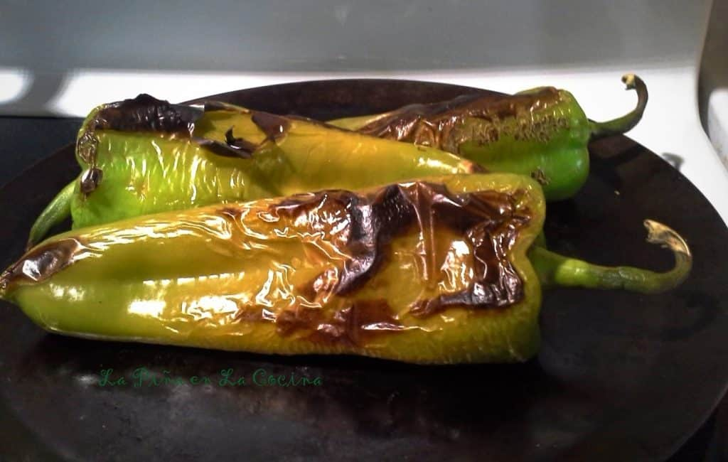Stove Top Roasting Green Chiles