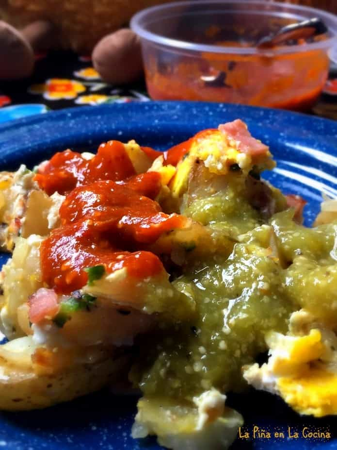 potato and egg scramble with two different salsas