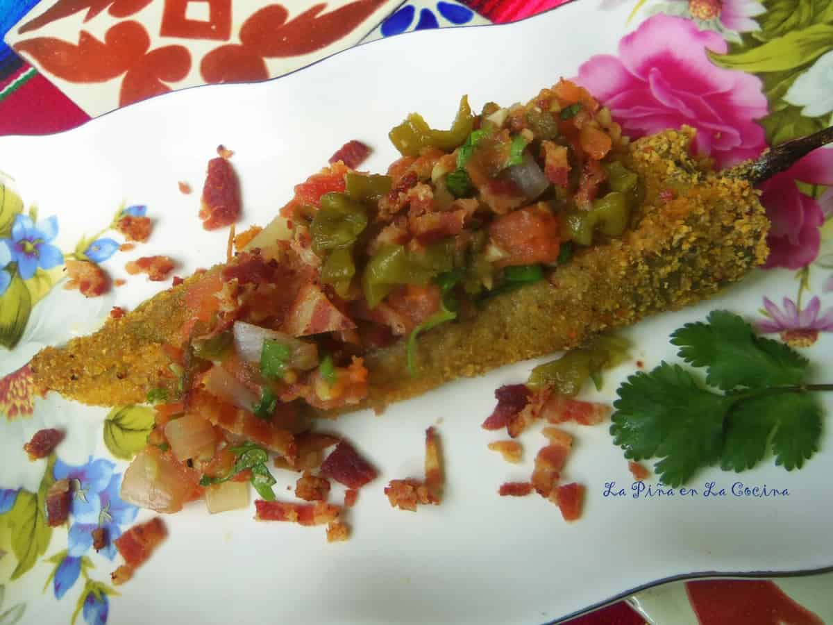 A variation is to garnish rellenos with your favorite salsa and crumbled bacon.