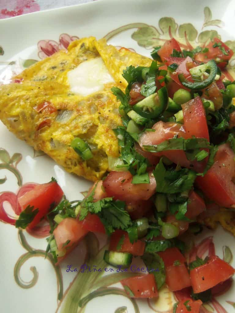 Cheese Omelet with Chimichurri and Pico de Gallo