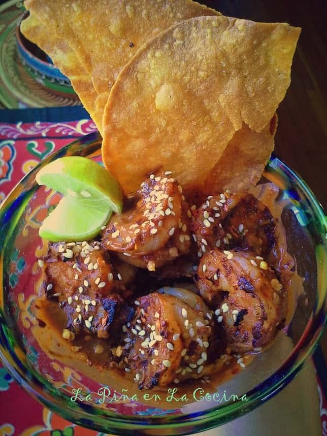 Grilled Shrimp in a Spicy Mole Sauce