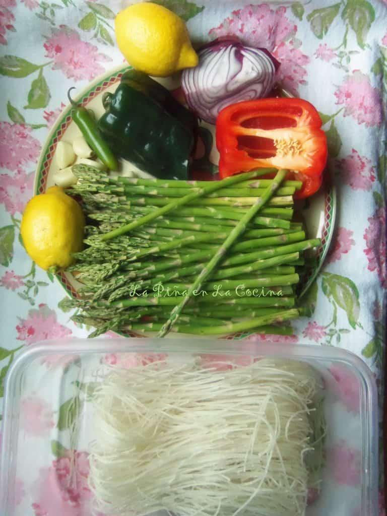 Grilled Chicken Asparagus Noodle Bowl