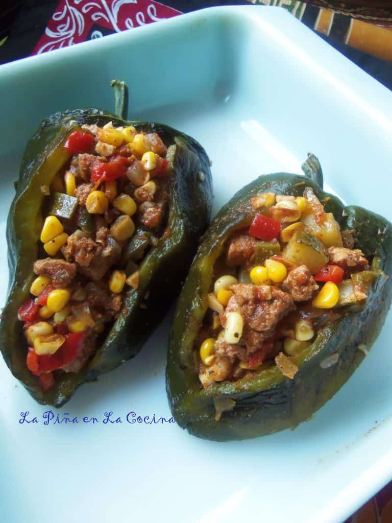Turkey Picadillo and Rice Stuffed Poblanos