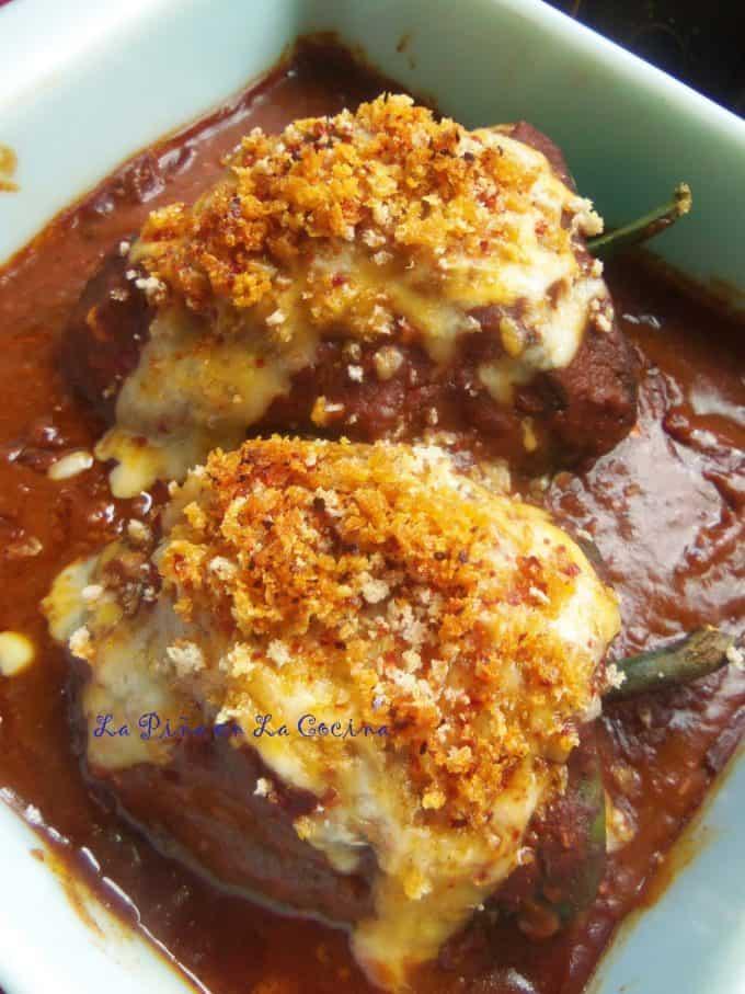 turkey picadillo and rice stuffed rellenos