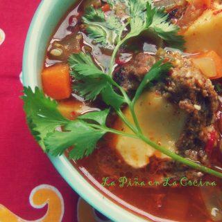 Caldo de Albondigas Rellenes~(Cheese Stuffed Meatball Soup)
