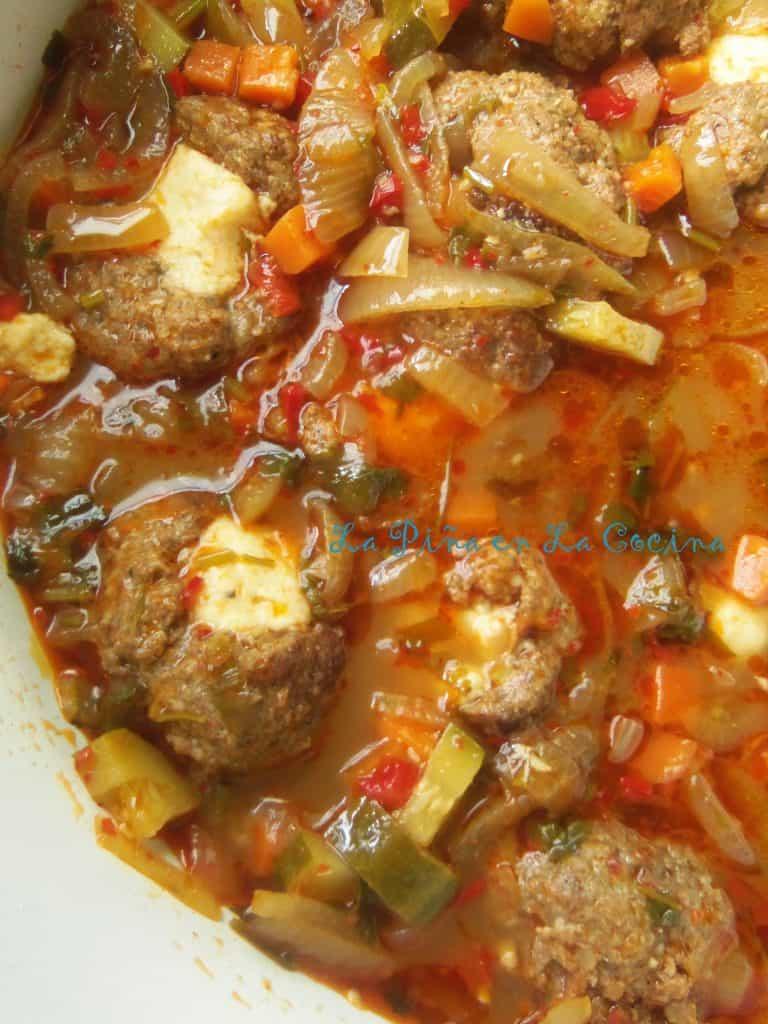 Caldo de Albondigas Rellenes~(Cheese Stuffed Meatball Soup) | La Piña ...
