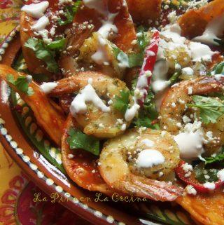 Chilaquiles Rojos Con Camaron~ Zesty Shrimp Chilaquiles