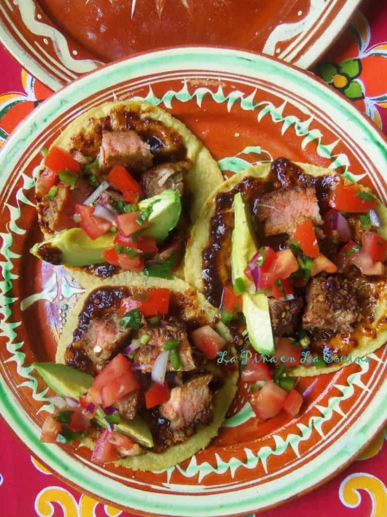 Chile de Arbol Ahi Tuna Steak Tacos plated