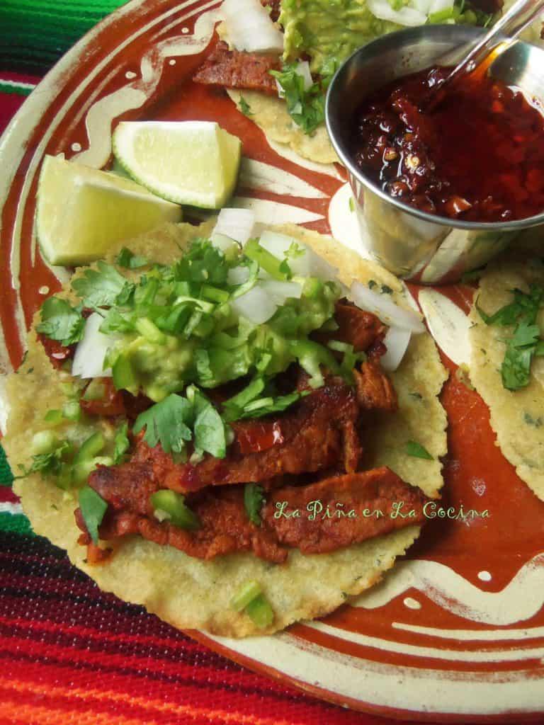 Tacos de Cecina de Res Enchilada