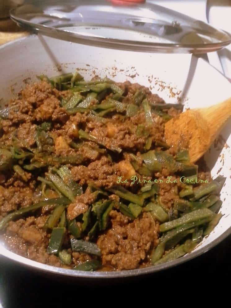 Beef Picadillo in a Chile Ancho Sauce with Roasted Poblanos