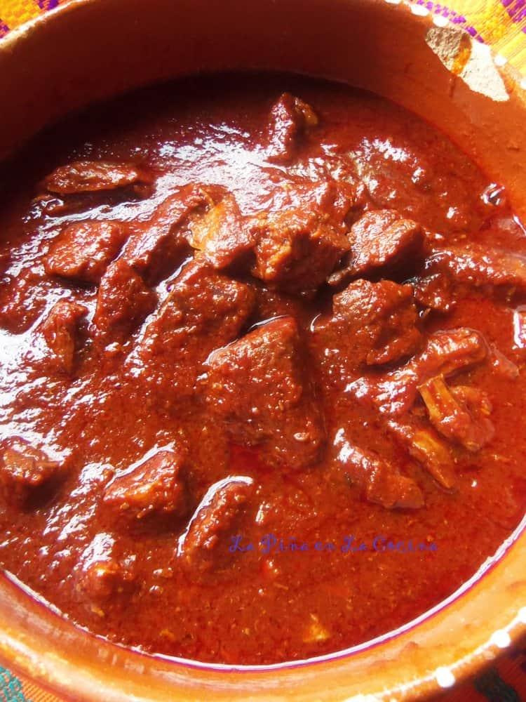 Carne con chile rojo beef and red chile la pi a en la - Chili con carne maison ...