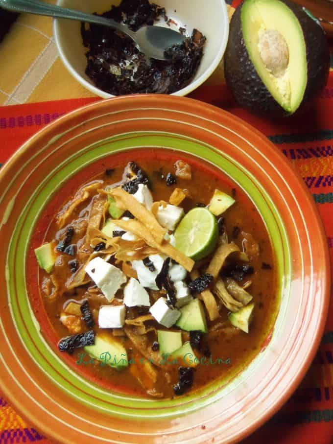 Tortilla soup top view