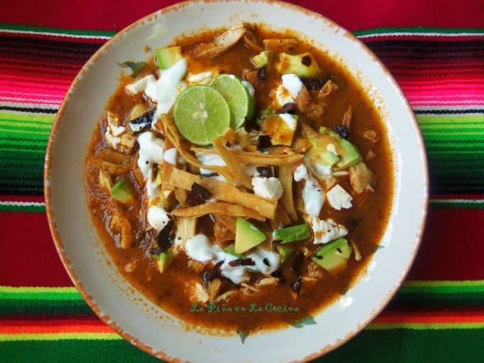 Sopa Azteca-Sopa de Tortilla(Tortilla Soup) top view