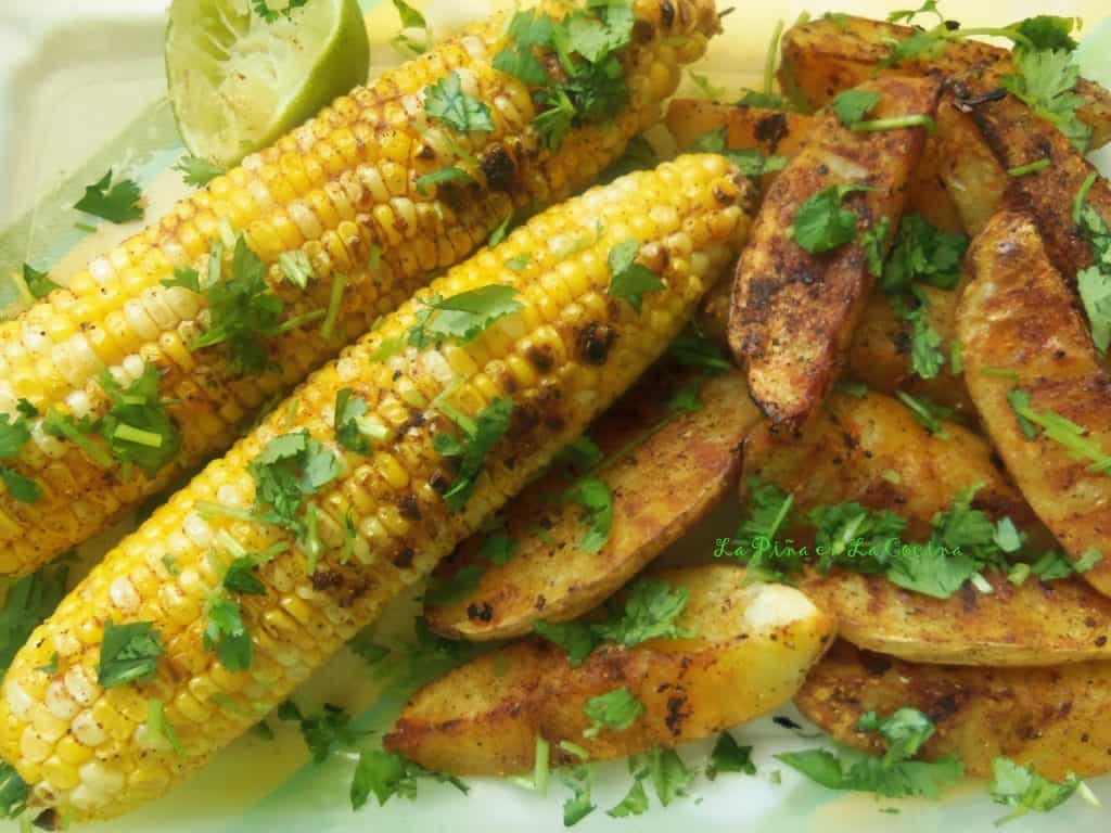 Elote y Papas Asadas-Grilled Corn and Potato Wedges
