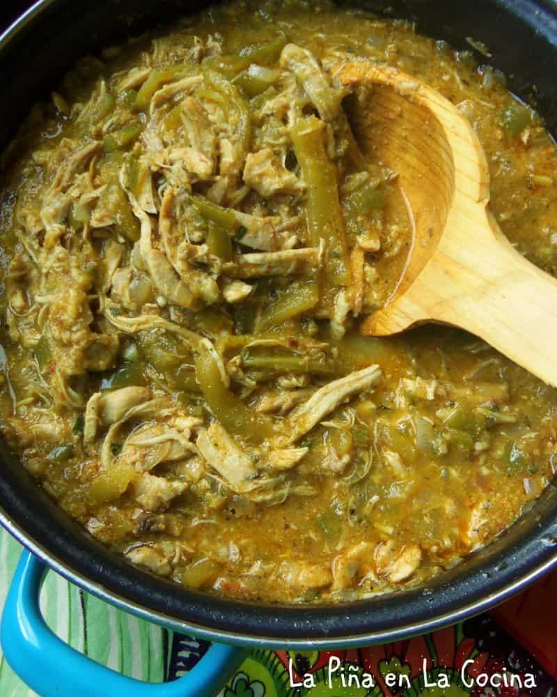 Chicken Chile Verde Pollo Con Chile Verde La Pina En La Cocina