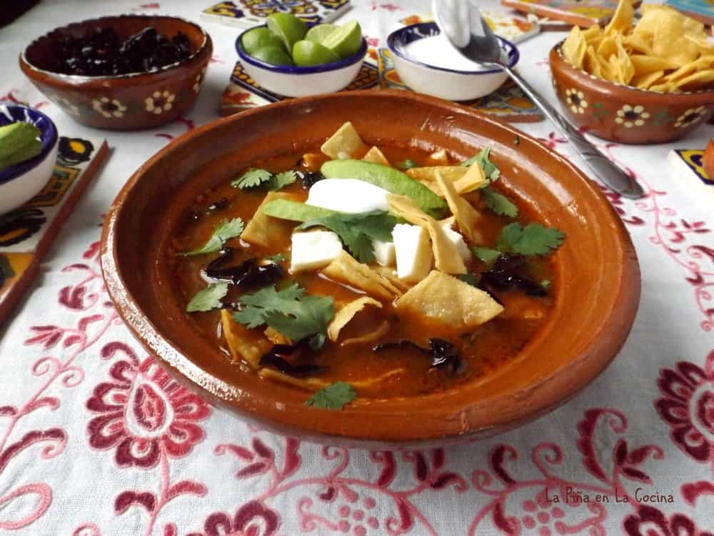Tortilla soup with garnishes
