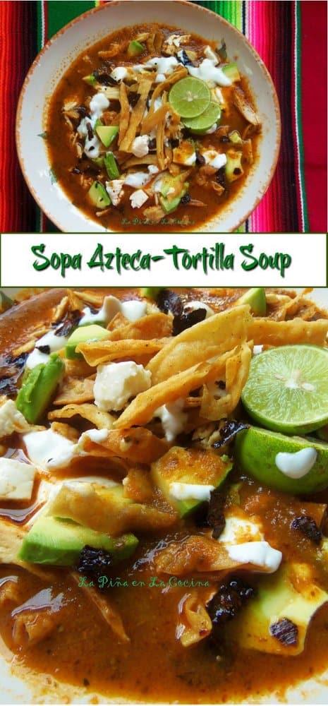 Sopa Azteca Pinterest image with title