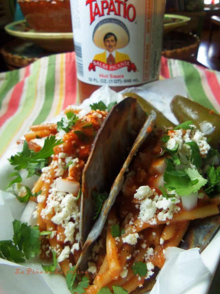 Tacos de Fideo-Broken Spaghetti Tacos with Queso Fresco