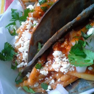 Tacos de Fideo~ Broken Spaghetti Tacos with Queso Fresco