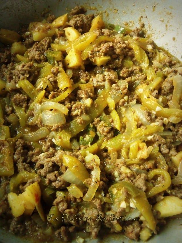 Chile Verde Beef Picadillo-Enchiladas!