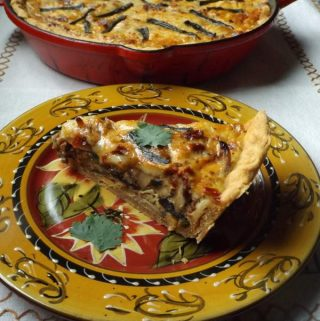 Chipotle-Cheddar Quiche with Mushrooms and Chorizo~Quiche Feast!