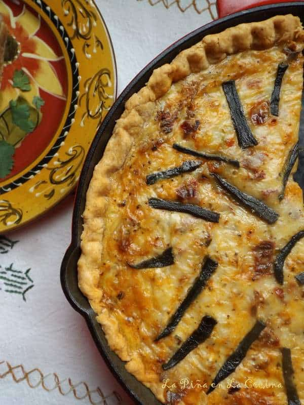 Chipotle Cheddar Quiche with Mushrooms and Chorizo
