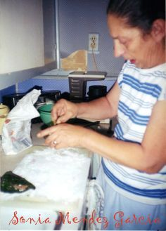 Mom Preparing Chiles Rellenos