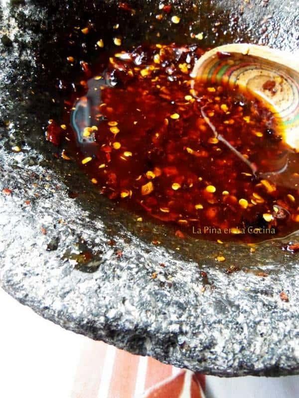 Salsa Macha-Chile Morita, Chile Piquin y Chile de Arbol