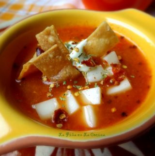 Roasted Tomato Tortilla Soup with Avocado Crema