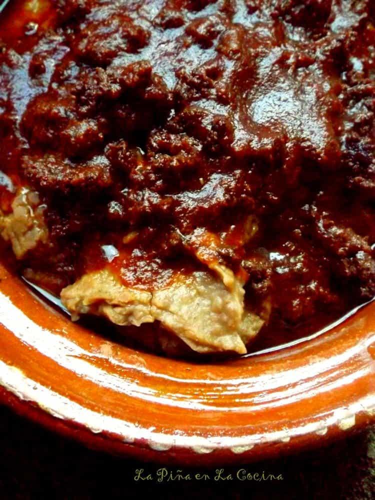 Frijoles con Veneno-Beans Chorizo and Chile Ancho Sauce