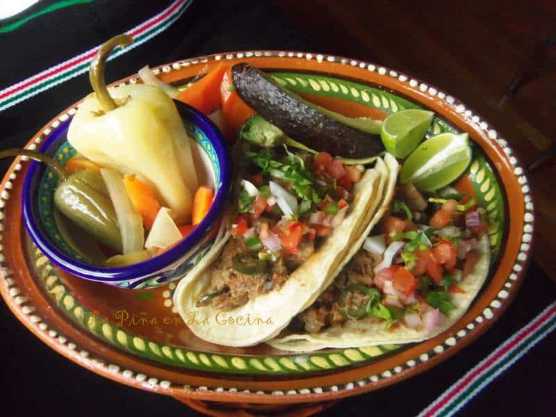 Tacos de Lengua-Beef Tongue Tacos-Rumba Meats Plated with Escabeche