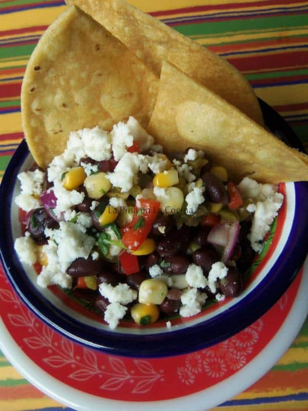 Black Bean, Nopalitos and Corn Salsa with Queso Fresco