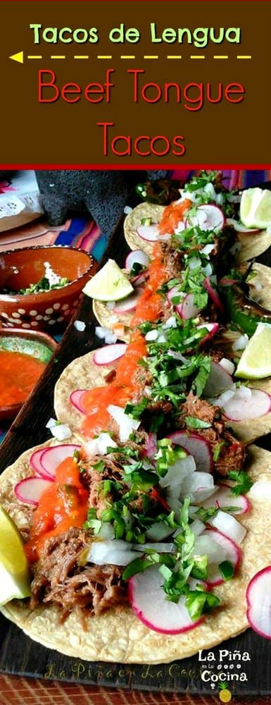 Pinterest image of beef tongue tacos