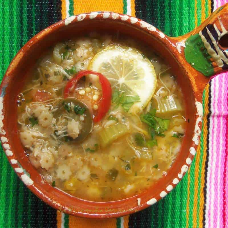 Sopa de Estrellitas Con Pollo-Chicken and Stars in a bowl close up