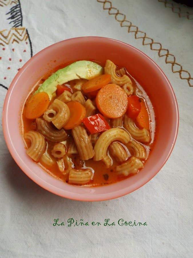 Sopa de Coditos-Elbow Pasta in bowl