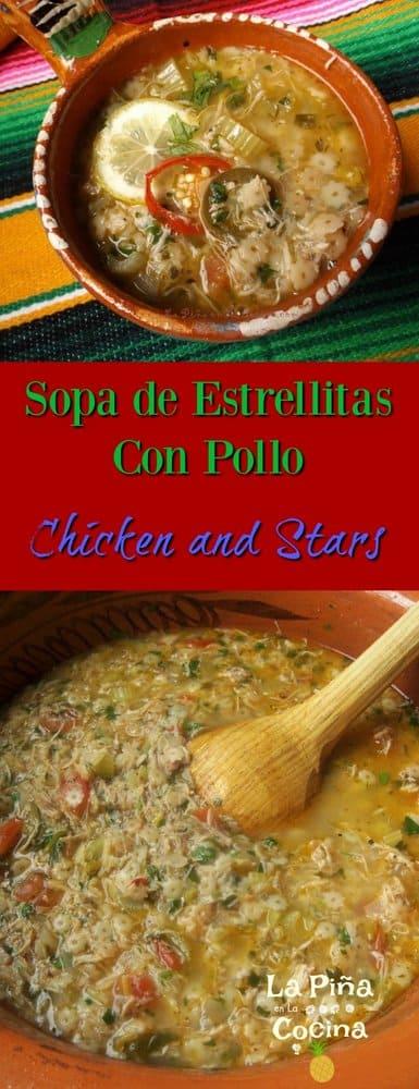 Sopa de Estrellitas Con Pollo Pinterest Image