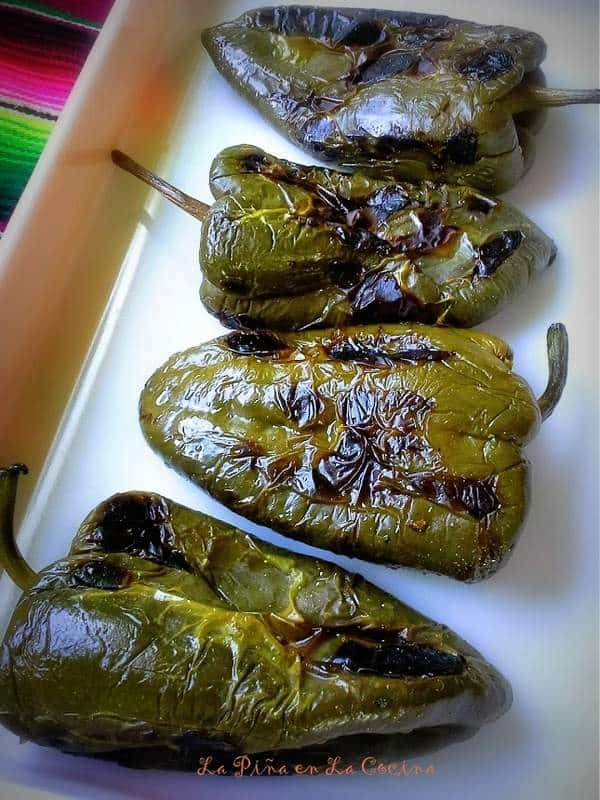 Roasted Poblanos for Rellenos